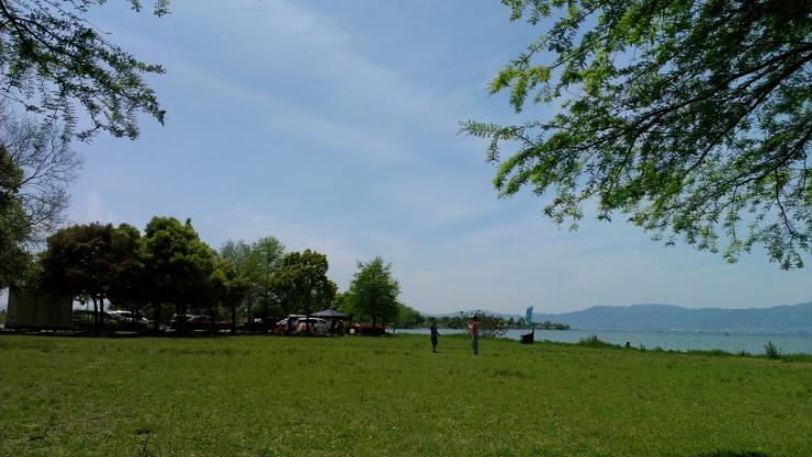 琵琶湖岸なう。