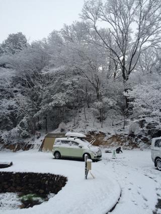 朝目覚めると雪中キャンプ‼︎
